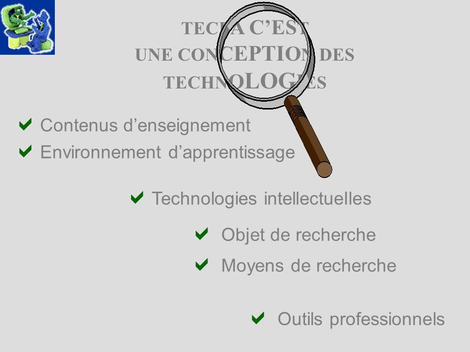 TECF A CES T UNE CON C EPTI O N DES TECHN O LOG I ES Objet de recherche Moyens de recherche Outils professionnels Contenus denseignement Environnement