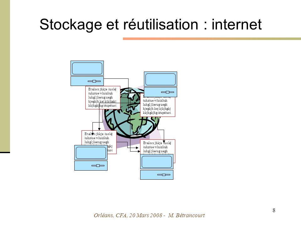 Orléans, CFA, 20 Mars 2008 - M. Bétrancourt 19 Représentations multidimensionnelles