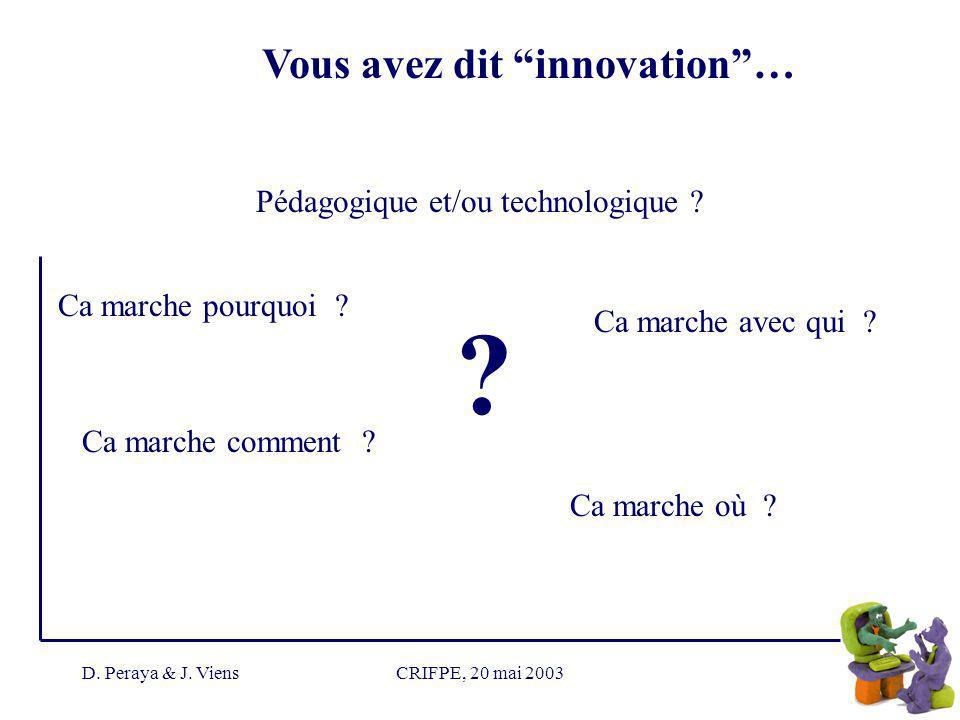 D. Peraya & J. ViensCRIFPE, 20 mai 2003 Vous avez dit innovation… .