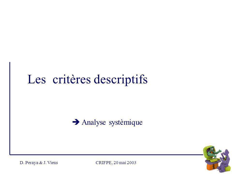 D. Peraya & J. ViensCRIFPE, 20 mai 2003 Les critères descriptifs Analyse systèmique
