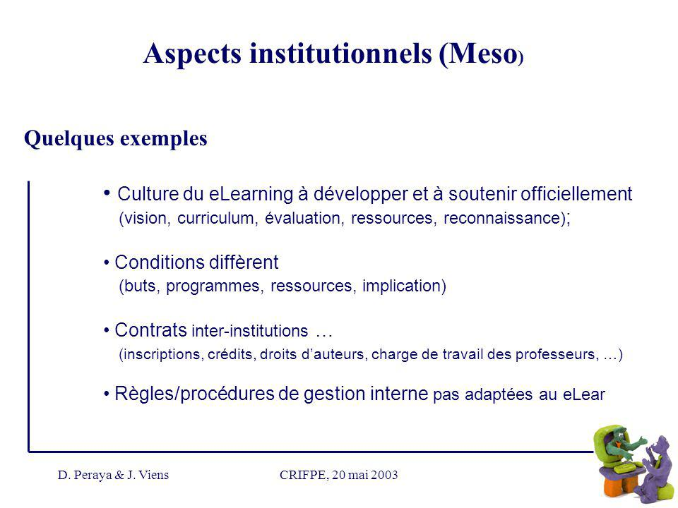 D. Peraya & J. ViensCRIFPE, 20 mai 2003 Culture du eLearning à développer et à soutenir officiellement (vision, curriculum, évaluation, ressources, re