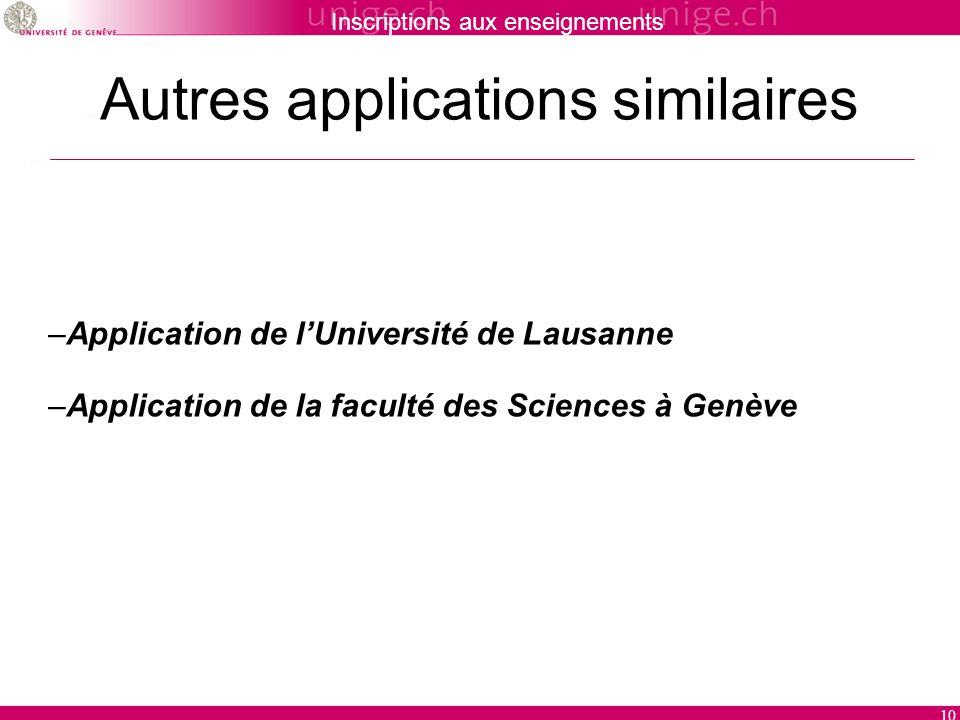 Inscriptions aux enseignements 10 Autres applications similaires –Application de lUniversité de Lausanne –Application de la faculté des Sciences à Genève