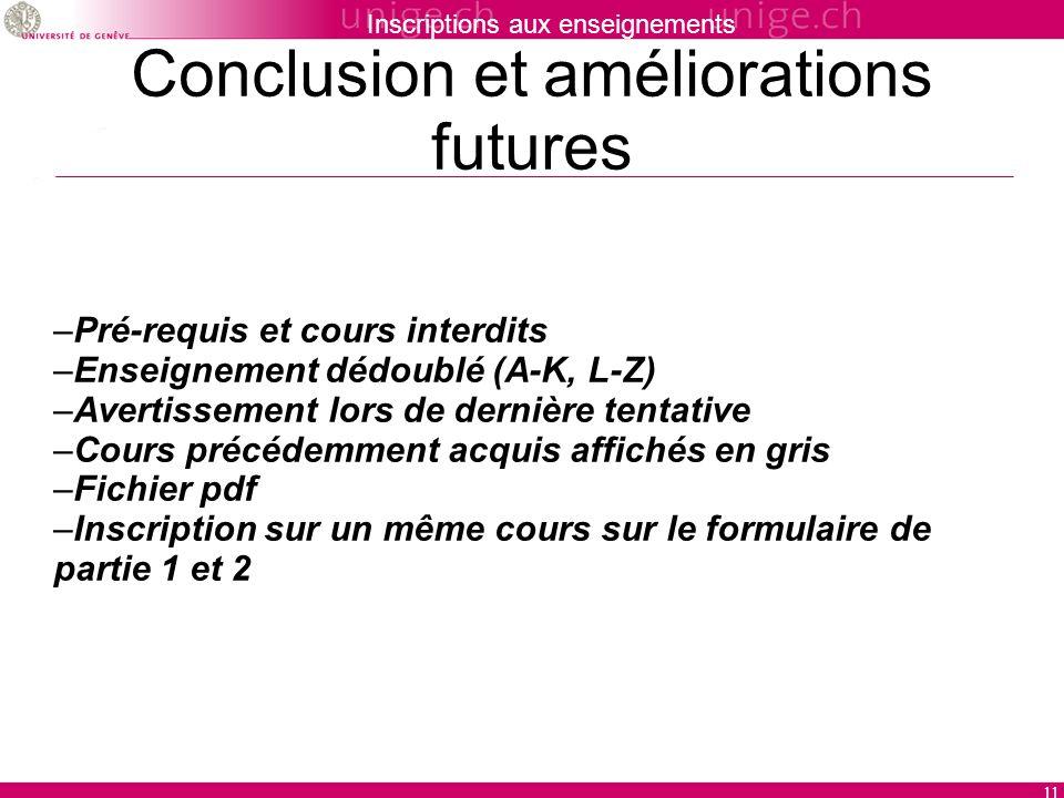 Inscriptions aux enseignements 11 Conclusion et améliorations futures –Pré-requis et cours interdits –Enseignement dédoublé (A-K, L-Z) –Avertissement