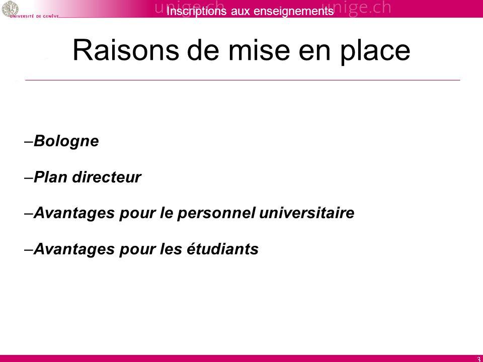 Inscriptions aux enseignements 3 Raisons de mise en place –Bologne –Plan directeur –Avantages pour le personnel universitaire –Avantages pour les étudiants