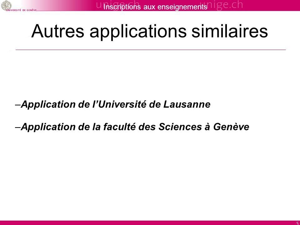 Inscriptions aux enseignements 5 Autres applications similaires –Application de lUniversité de Lausanne –Application de la faculté des Sciences à Genè