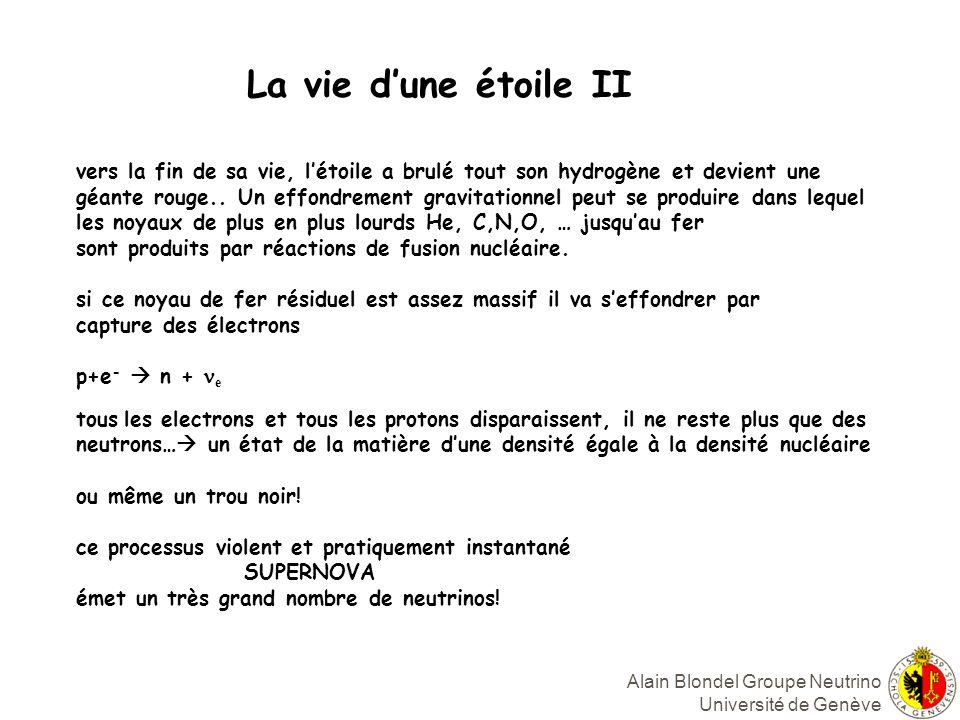Alain Blondel Groupe Neutrino Université de Genève La vie dune étoile II vers la fin de sa vie, létoile a brulé tout son hydrogène et devient une géante rouge..
