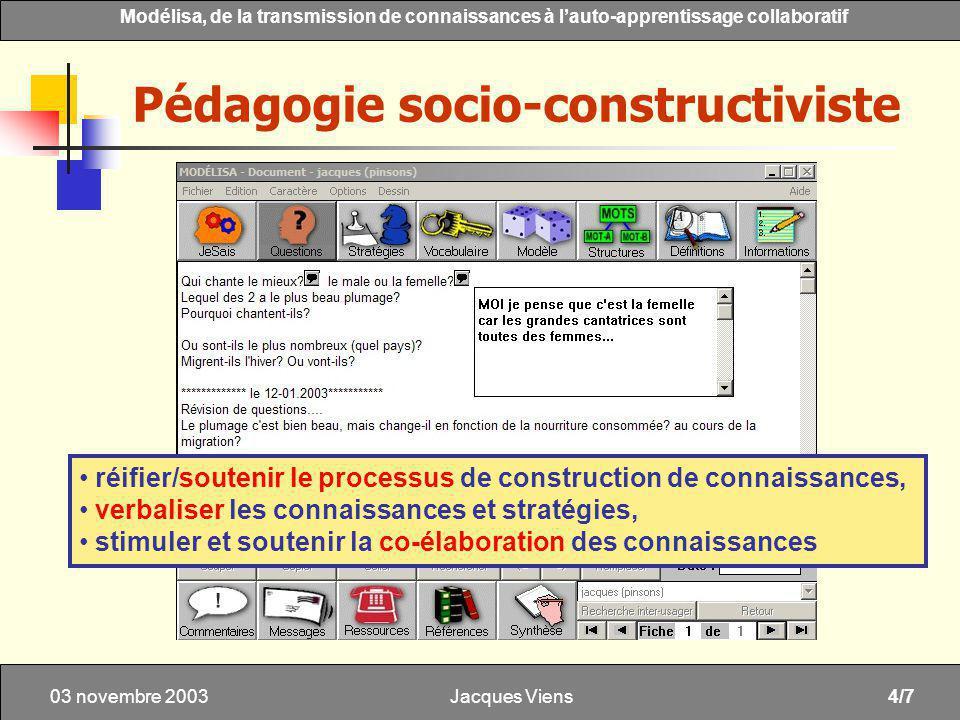 Jacques Viens4/7 Modélisa, de la transmission de connaissances à lauto-apprentissage collaboratif 03 novembre 2003 Pédagogie socio-constructiviste réifier/soutenir le processus de construction de connaissances, verbaliser les connaissances et stratégies, stimuler et soutenir la co-élaboration des connaissances