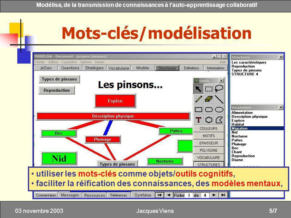 Jacques Viens5/7 Modélisa, de la transmission de connaissances à lauto-apprentissage collaboratif 03 novembre 2003 Mots-clés/modélisation utiliser les mots-clés comme objets/outils cognitifs, faciliter la réification des connaissances, des modèles mentaux,