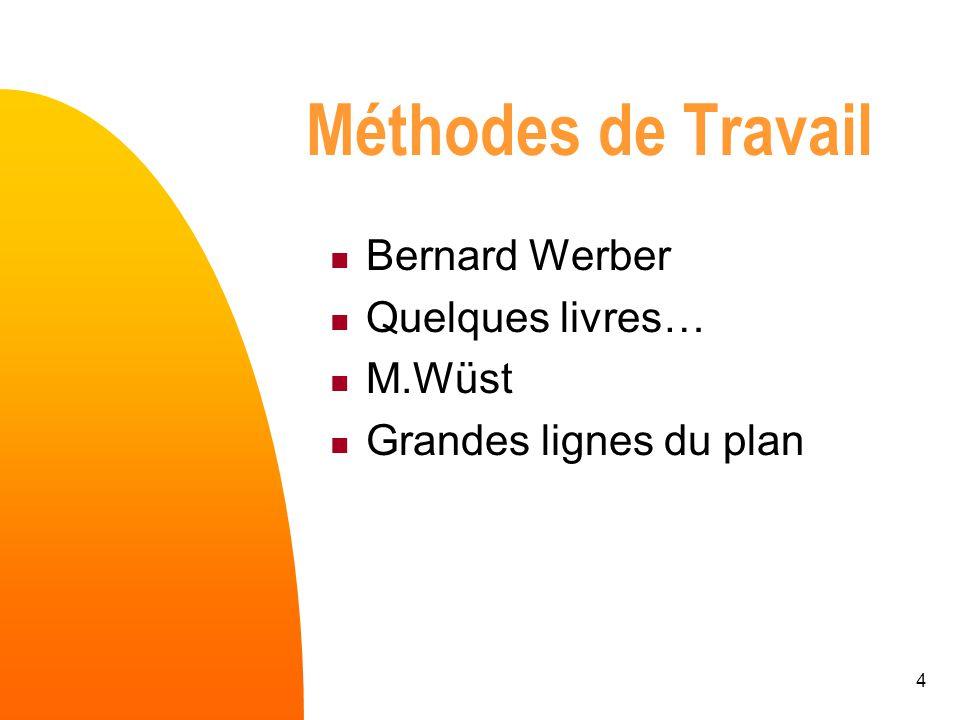 4 Méthodes de Travail Bernard Werber Quelques livres… M.Wüst Grandes lignes du plan