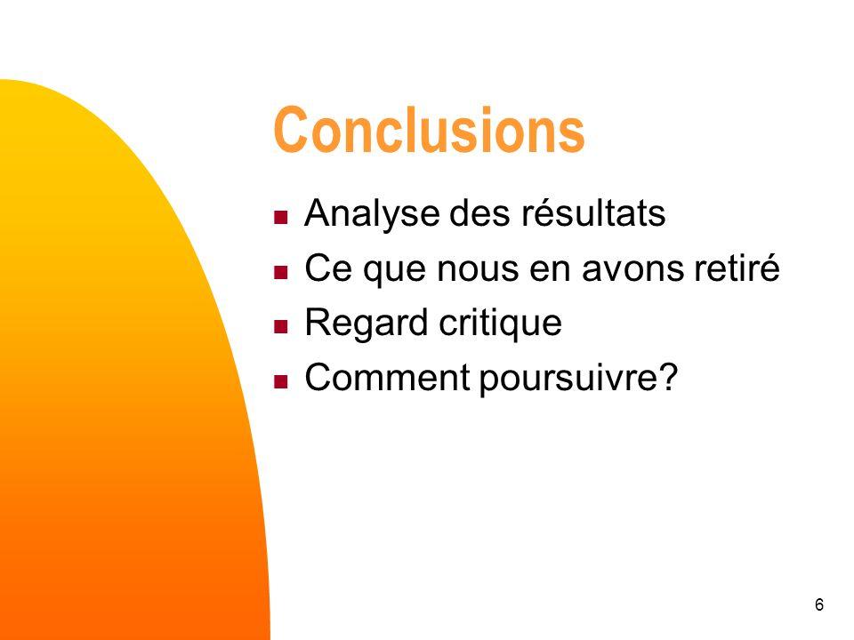 6 Conclusions Analyse des résultats Ce que nous en avons retiré Regard critique Comment poursuivre?