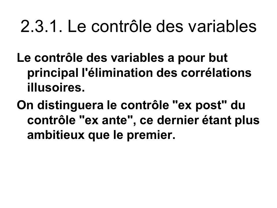 2.3.1. Le contrôle des variables Le contrôle des variables a pour but principal l'élimination des corrélations illusoires. On distinguera le contrôle