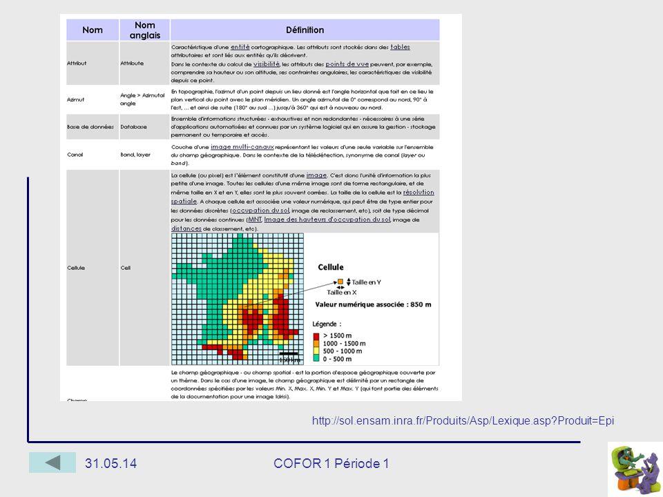 31.05.14COFOR 1 Période 1 http://sol.ensam.inra.fr/Produits/Asp/Lexique.asp Produit=Epi