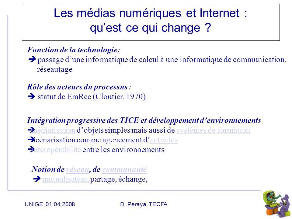 UNIGE, 01.04.2008D. Peraya, TECFA Médiation, médiatisation
