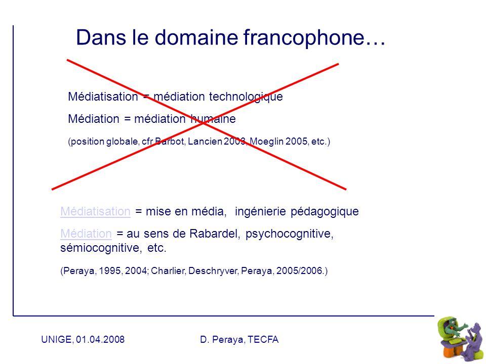 UNIGE, 01.04.2008D. Peraya, TECFA Notre définition (Charlier, Deschryver, Peraya, 2006) « Un dispositif de formation hybride se caractérise par la pré