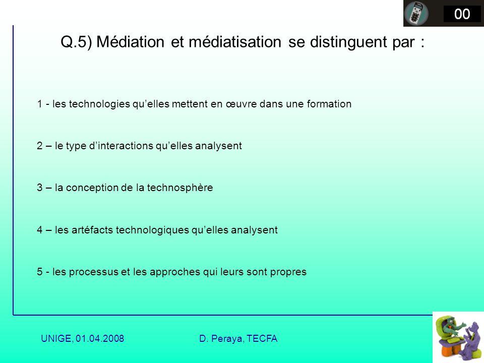 UNIGE, 01.04.2008D. Peraya, TECFA Médiatisation et médiatisation Médiatisation Médiation Production Ingéniérie Mise en média Transposition médiatique