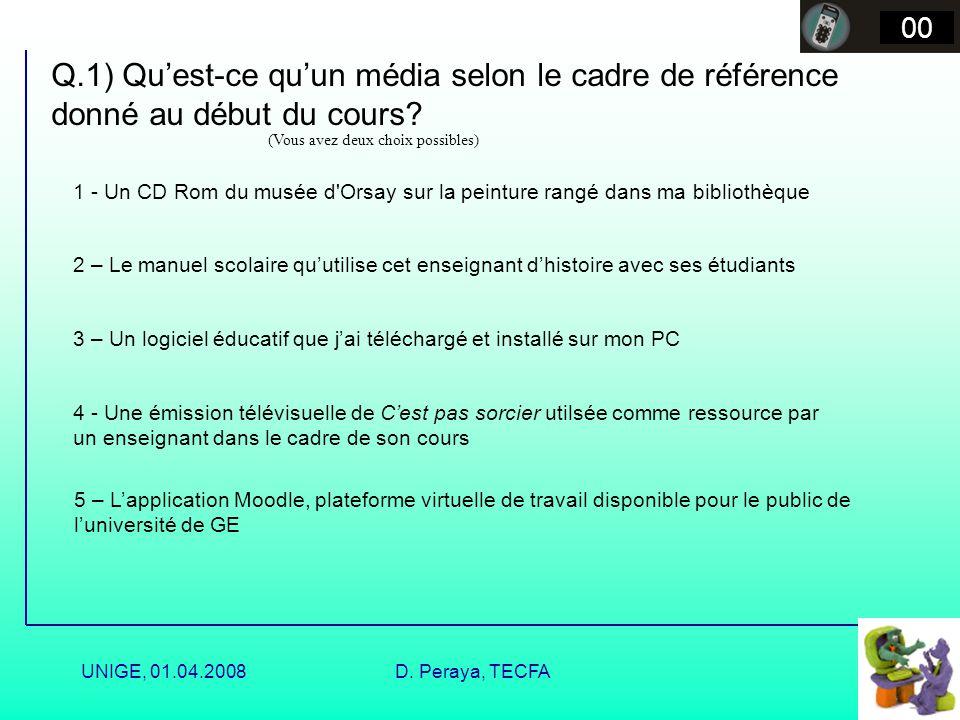 UNIGE, 01.04.2008D. Peraya, TECFA Que sont les médias ? Un média est une activité humaine distincte qui organise la réalité en textes lisibles en vue