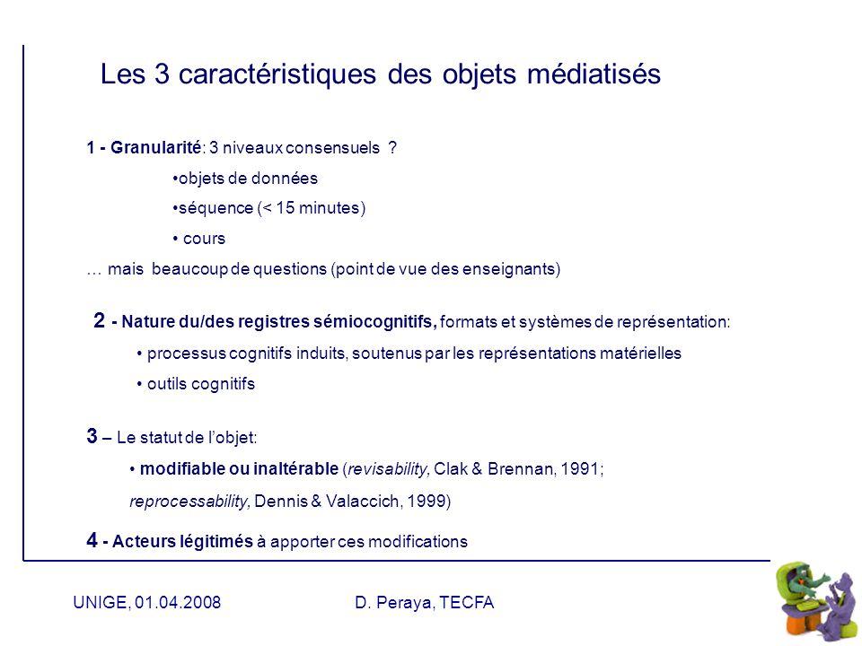UNIGE, 01.04.2008D. Peraya, TECFA Médiatisation : les fonctions instanciées Fonction générique Objets Service Activité
