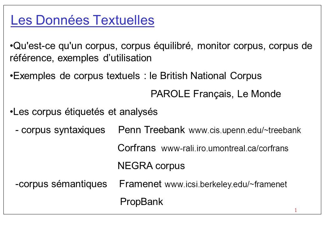 1 Les Données Textuelles Qu'est-ce qu'un corpus, corpus équilibré, monitor corpus, corpus de référence, exemples dutilisation Exemples de corpus textu
