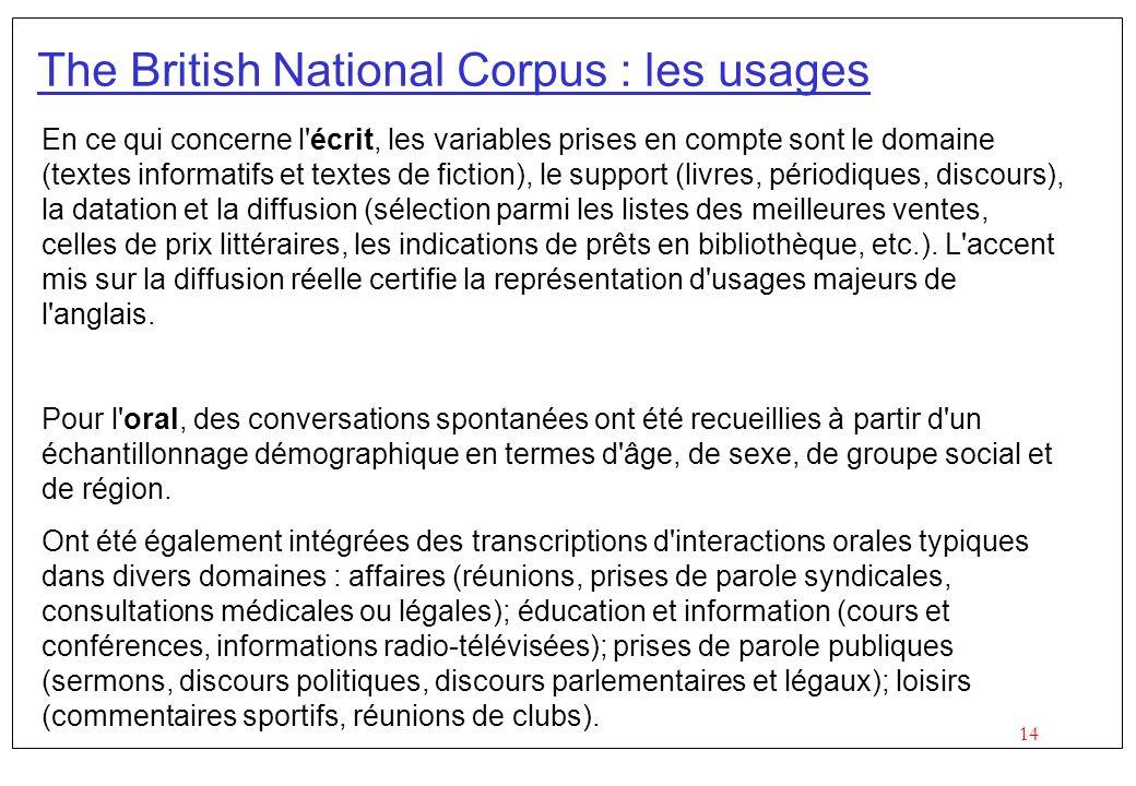 14 The British National Corpus : les usages En ce qui concerne l'écrit, les variables prises en compte sont le domaine (textes informatifs et textes d