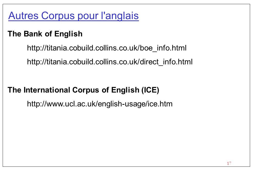 17 Autres Corpus pour l anglais The Bank of English http://titania.cobuild.collins.co.uk/boe_info.html http://titania.cobuild.collins.co.uk/direct_info.html The International Corpus of English (ICE) http://www.ucl.ac.uk/english-usage/ice.htm