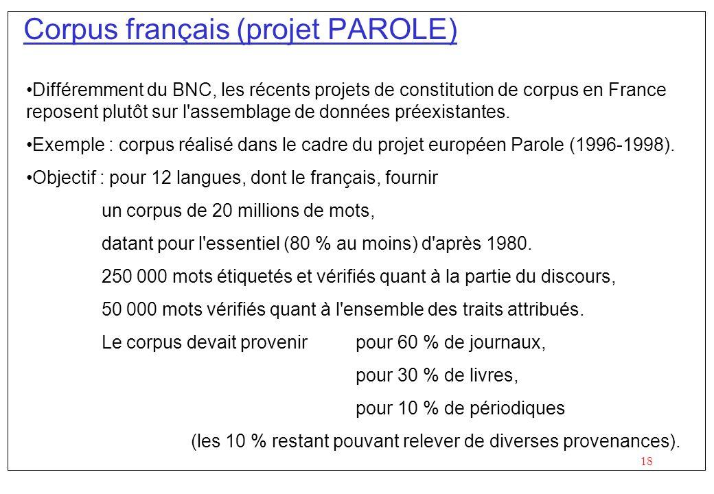 18 Corpus français (projet PAROLE) Différemment du BNC, les récents projets de constitution de corpus en France reposent plutôt sur l'assemblage de do