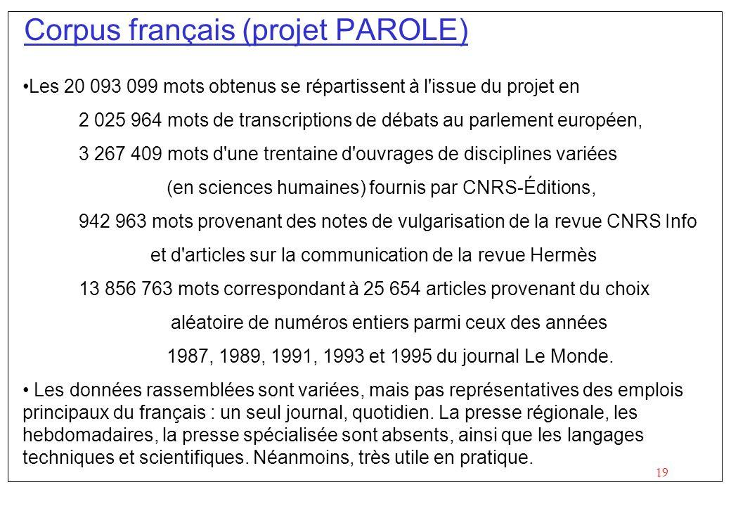 19 Corpus français (projet PAROLE) Les 20 093 099 mots obtenus se répartissent à l'issue du projet en 2 025 964 mots de transcriptions de débats au pa