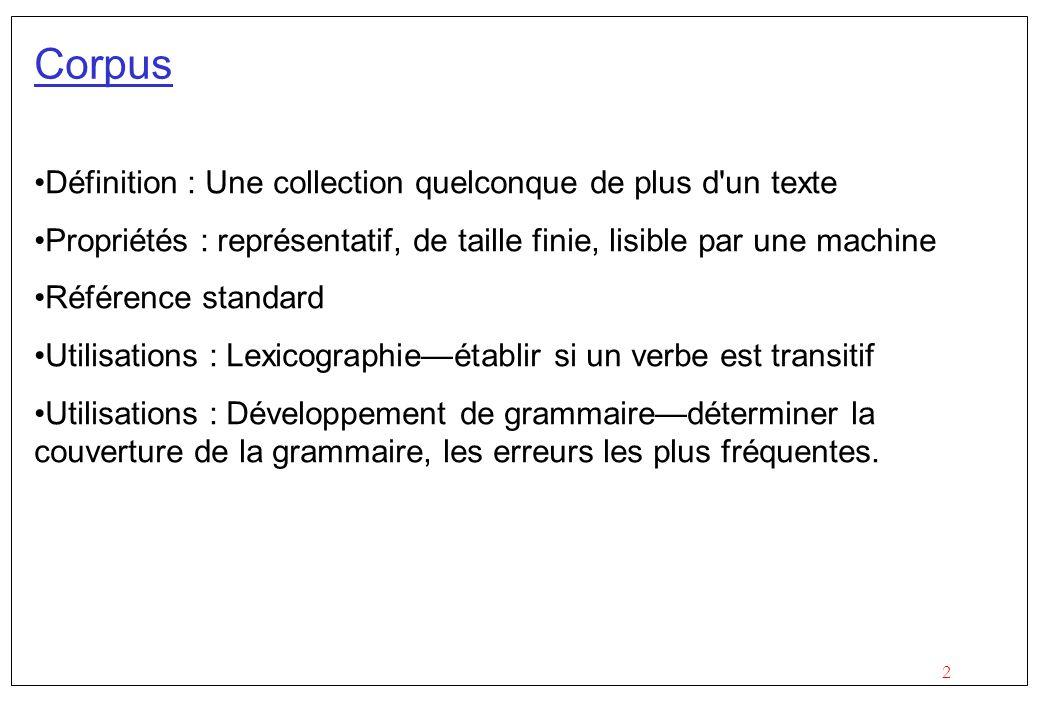 2 Corpus Définition : Une collection quelconque de plus d'un texte Propriétés : représentatif, de taille finie, lisible par une machine Référence stan