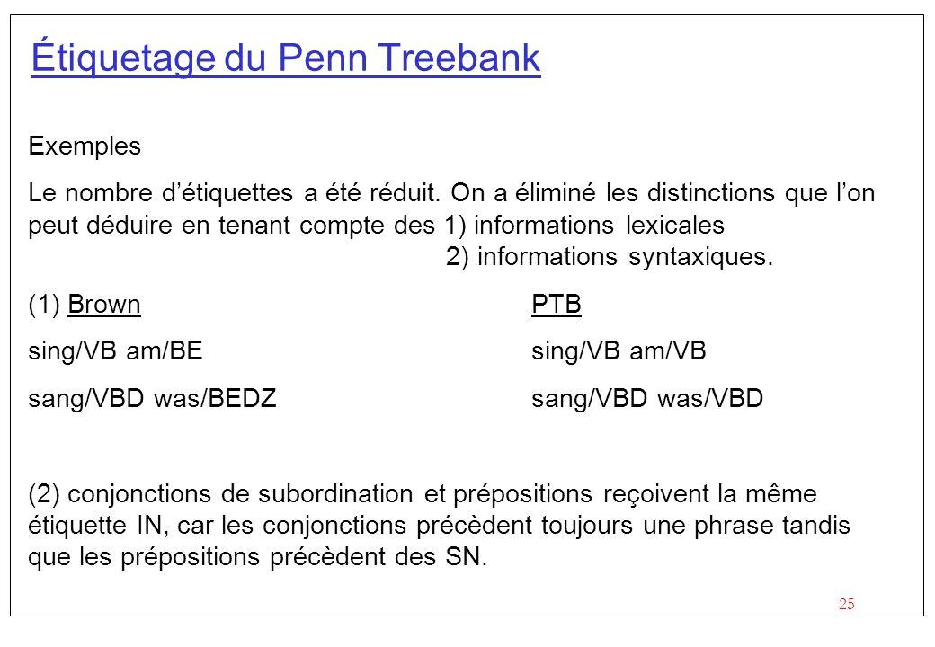 25 Étiquetage du Penn Treebank Exemples Le nombre détiquettes a été réduit. On a éliminé les distinctions que lon peut déduire en tenant compte des 1)
