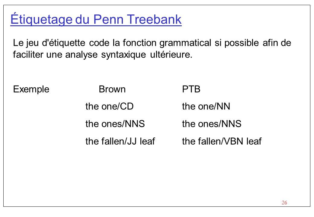 26 Étiquetage du Penn Treebank Le jeu d'étiquette code la fonction grammatical si possible afin de faciliter une analyse syntaxique ultérieure. Exempl