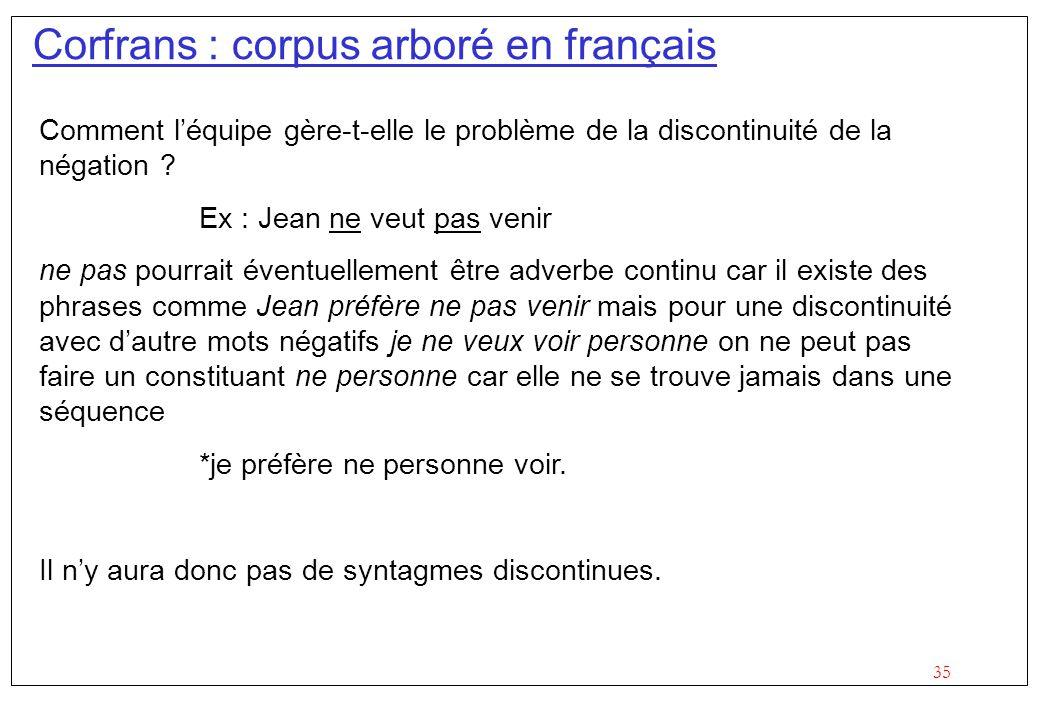 35 Corfrans : corpus arboré en français Comment léquipe gère-t-elle le problème de la discontinuité de la négation ? Ex : Jean ne veut pas venir ne pa