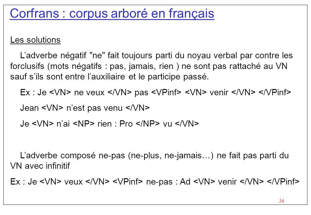 36 Corfrans : corpus arboré en français Les solutions Ladverbe négatif