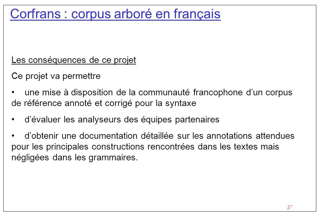 37 Corfrans : corpus arboré en français Les conséquences de ce projet Ce projet va permettre une mise à disposition de la communauté francophone dun c