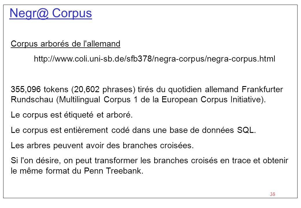 38 Negr@ Corpus Corpus arborés de l allemand http://www.coli.uni-sb.de/sfb378/negra-corpus/negra-corpus.html 355,096 tokens (20,602 phrases) tirés du quotidien allemand Frankfurter Rundschau (Multilingual Corpus 1 de la European Corpus Initiative).