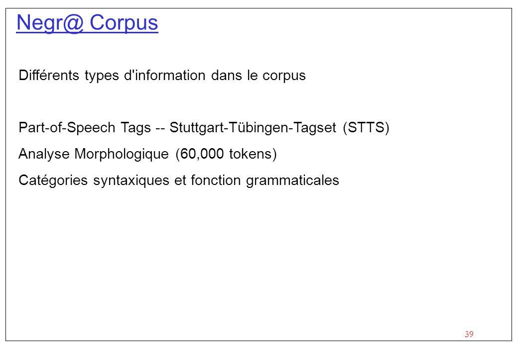 39 Negr@ Corpus Différents types d information dans le corpus Part-of-Speech Tags -- Stuttgart-Tübingen-Tagset (STTS) Analyse Morphologique (60,000 tokens) Catégories syntaxiques et fonction grammaticales