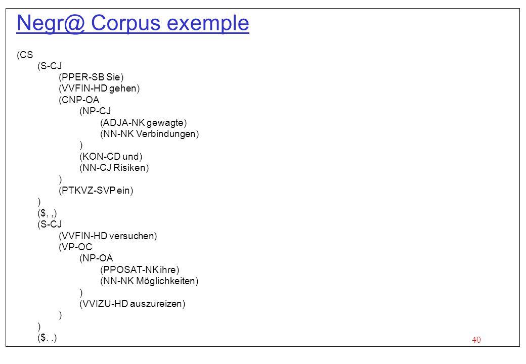 40 Negr@ Corpus exemple (CS (S-CJ (PPER-SB Sie) (VVFIN-HD gehen) (CNP-OA (NP-CJ (ADJA-NK gewagte) (NN-NK Verbindungen) ) (KON-CD und) (NN-CJ Risiken) ) (PTKVZ-SVP ein) ) ($,,) (S-CJ (VVFIN-HD versuchen) (VP-OC (NP-OA (PPOSAT-NK ihre) (NN-NK Möglichkeiten) ) (VVIZU-HD auszureizen) ) ($..)