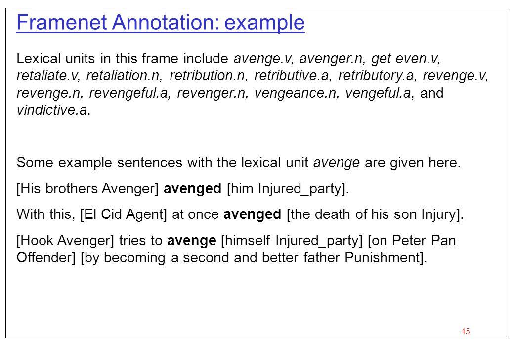 45 Framenet Annotation: example Lexical units in this frame include avenge.v, avenger.n, get even.v, retaliate.v, retaliation.n, retribution.n, retributive.a, retributory.a, revenge.v, revenge.n, revengeful.a, revenger.n, vengeance.n, vengeful.a, and vindictive.a.