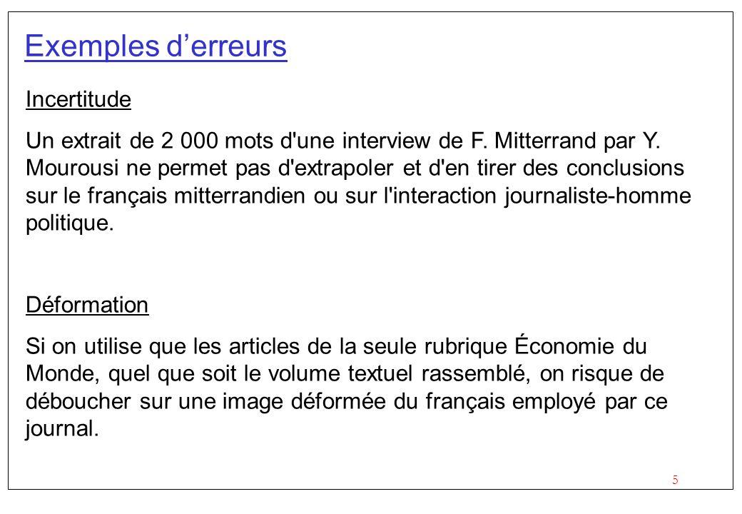 5 Exemples derreurs Incertitude Un extrait de 2 000 mots d'une interview de F. Mitterrand par Y. Mourousi ne permet pas d'extrapoler et d'en tirer des