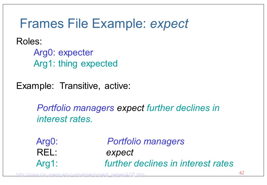 62 Frames File Example: expect Roles: Arg0: expecter Arg1: thing expected Example: Transitive, active: Portfolio managers expect further declines in i