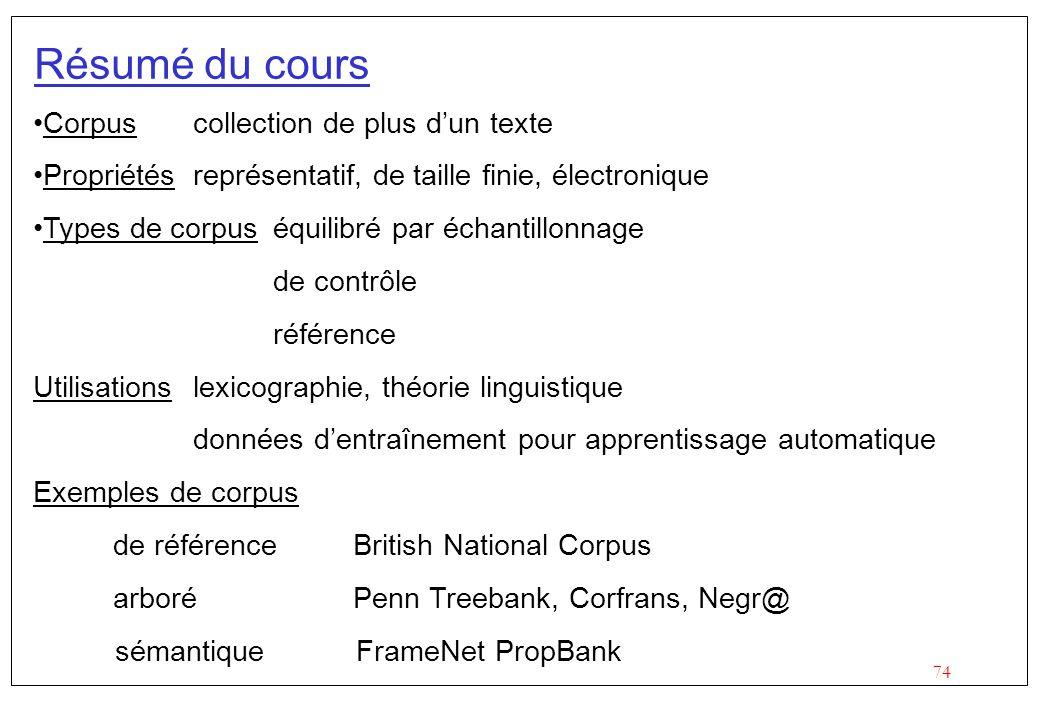 74 Résumé du cours Corpuscollection de plus dun texte Propriétésreprésentatif, de taille finie, électronique Types de corpuséquilibré par échantillonn