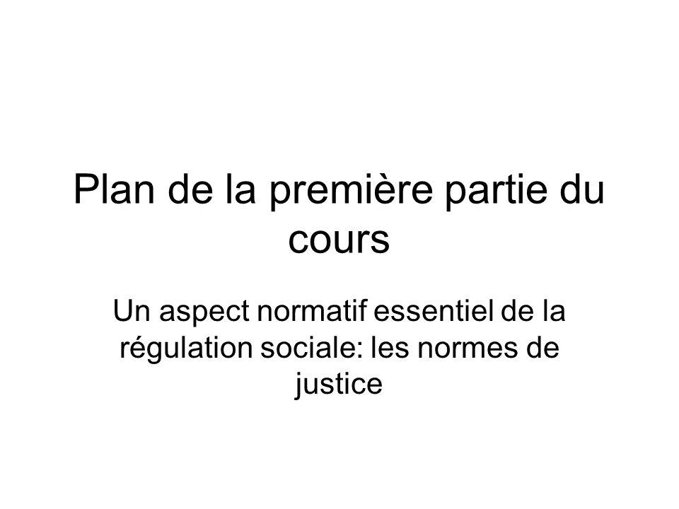 Plan de la première partie du cours Un aspect normatif essentiel de la régulation sociale: les normes de justice