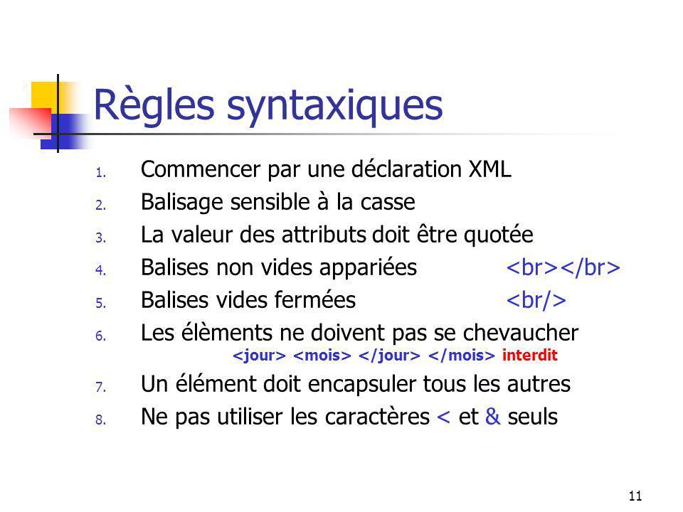 11 Règles syntaxiques 1. Commencer par une déclaration XML 2. Balisage sensible à la casse 3. La valeur des attributs doit être quotée 4. Balises non