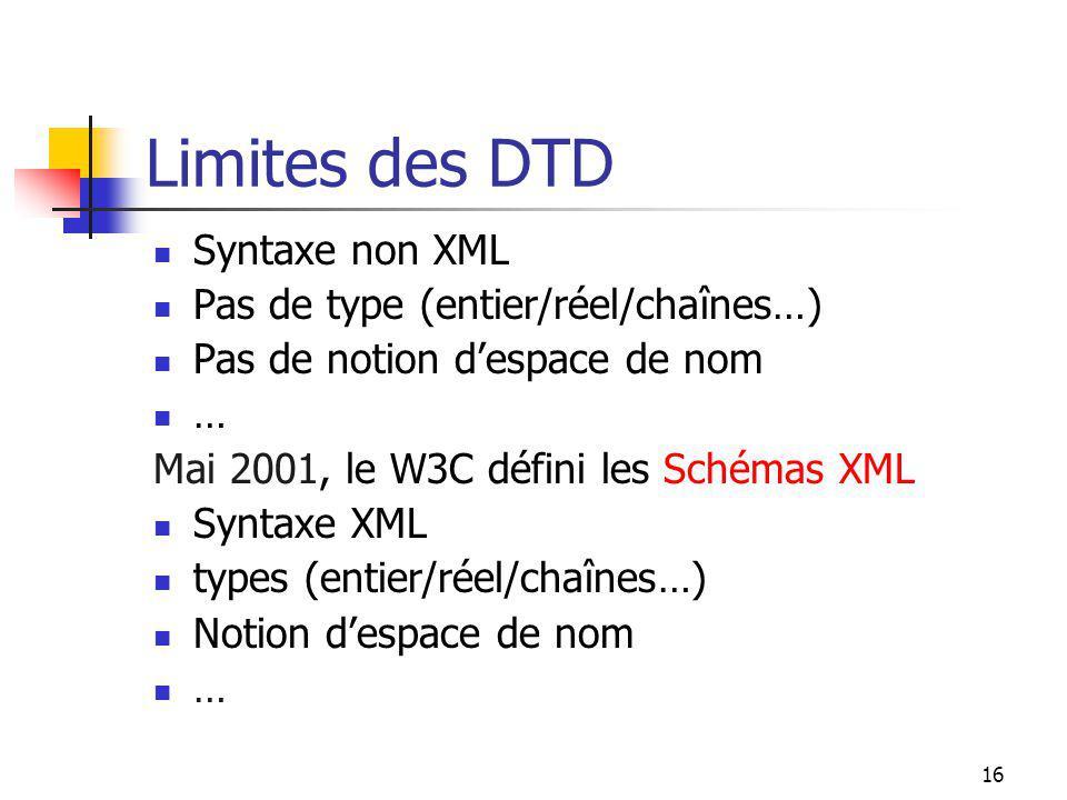 16 Limites des DTD Syntaxe non XML Pas de type (entier/réel/chaînes…) Pas de notion despace de nom … Mai 2001, le W3C défini les Schémas XML Syntaxe X