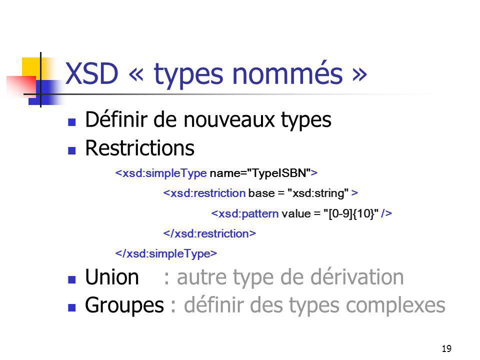 19 XSD « types nommés » Définir de nouveaux types Restrictions Union: autre type de dérivation Groupes : définir des types complexes