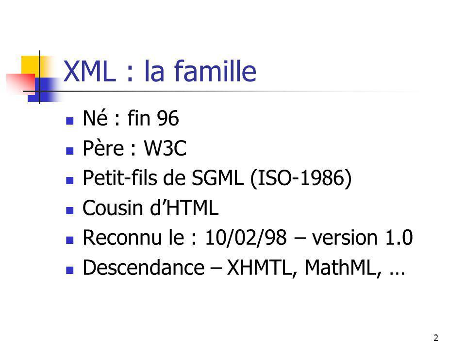 2 XML : la famille Né : fin 96 Père : W3C Petit-fils de SGML (ISO-1986) Cousin dHTML Reconnu le : 10/02/98 – version 1.0 Descendance – XHMTL, MathML,