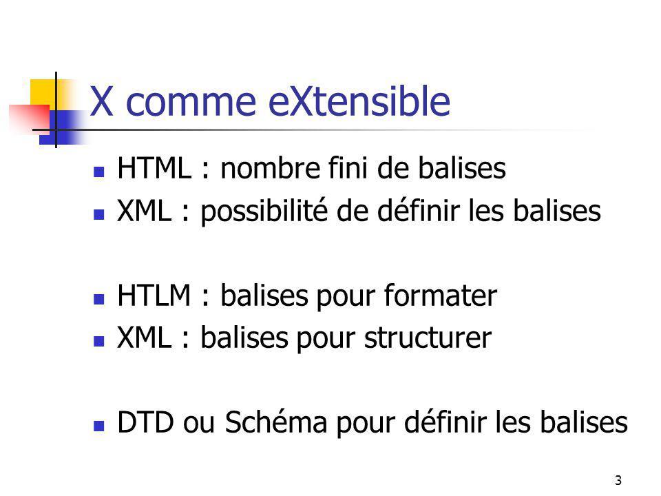 3 X comme eXtensible HTML : nombre fini de balises XML : possibilité de définir les balises HTLM : balises pour formater XML : balises pour structurer