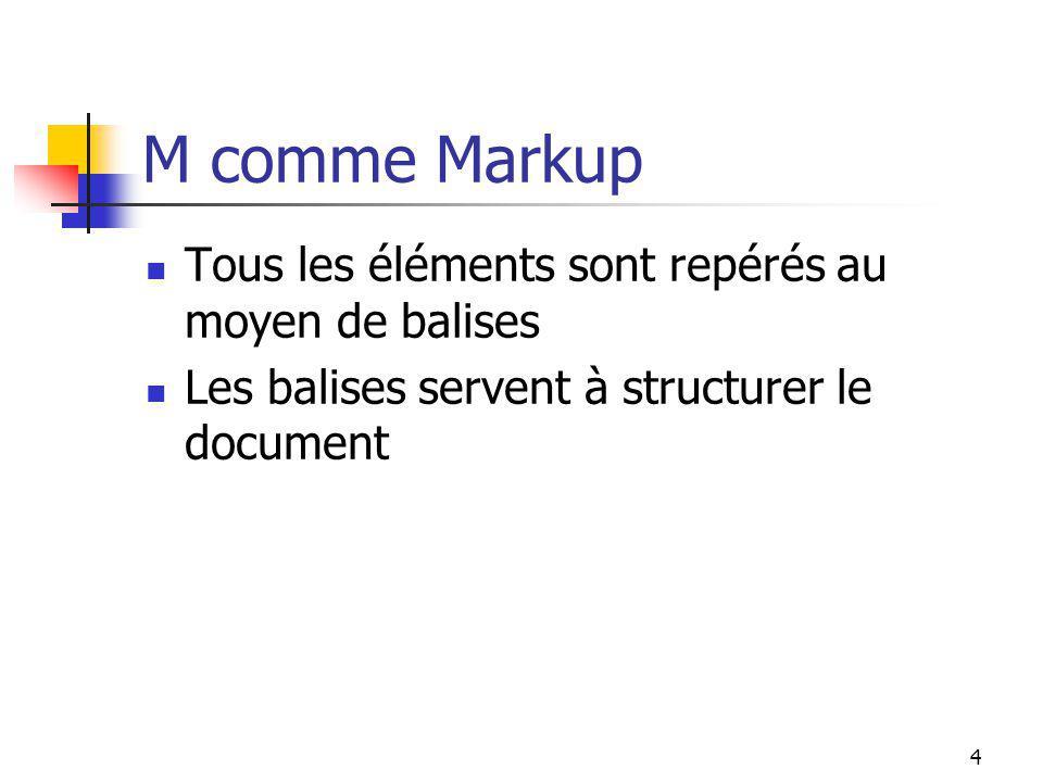 4 M comme Markup Tous les éléments sont repérés au moyen de balises Les balises servent à structurer le document