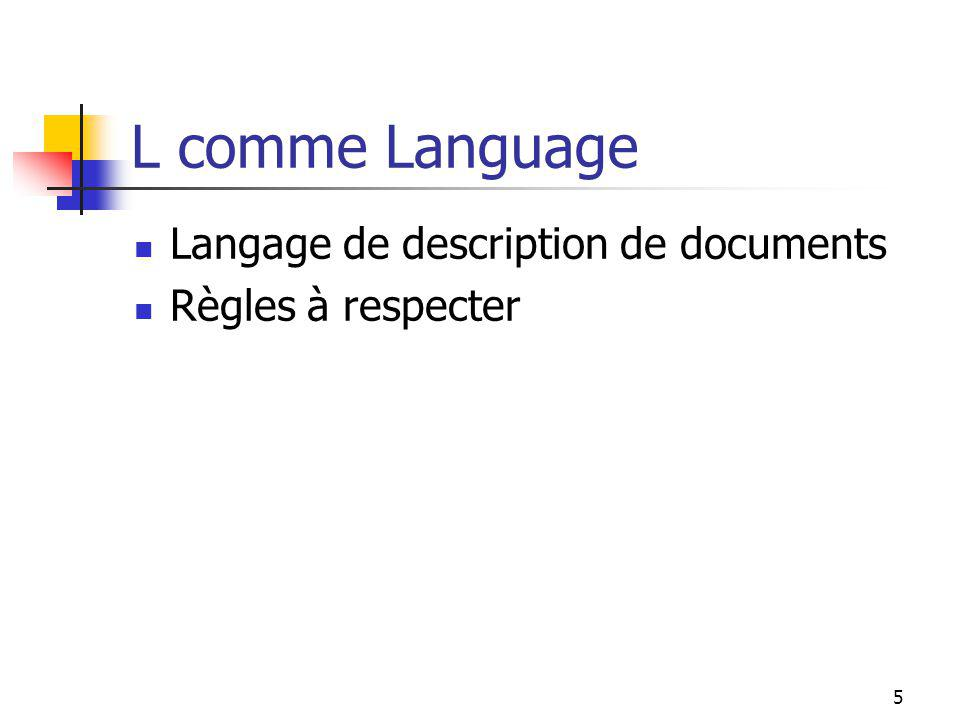 5 L comme Language Langage de description de documents Règles à respecter
