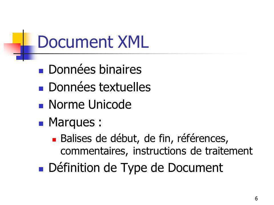 6 Document XML Données binaires Données textuelles Norme Unicode Marques : Balises de début, de fin, références, commentaires, instructions de traitem