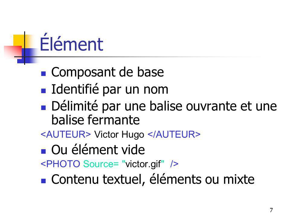 7 Élément Composant de base Identifié par un nom Délimité par une balise ouvrante et une balise fermante Victor Hugo Ou élément vide Contenu textuel,