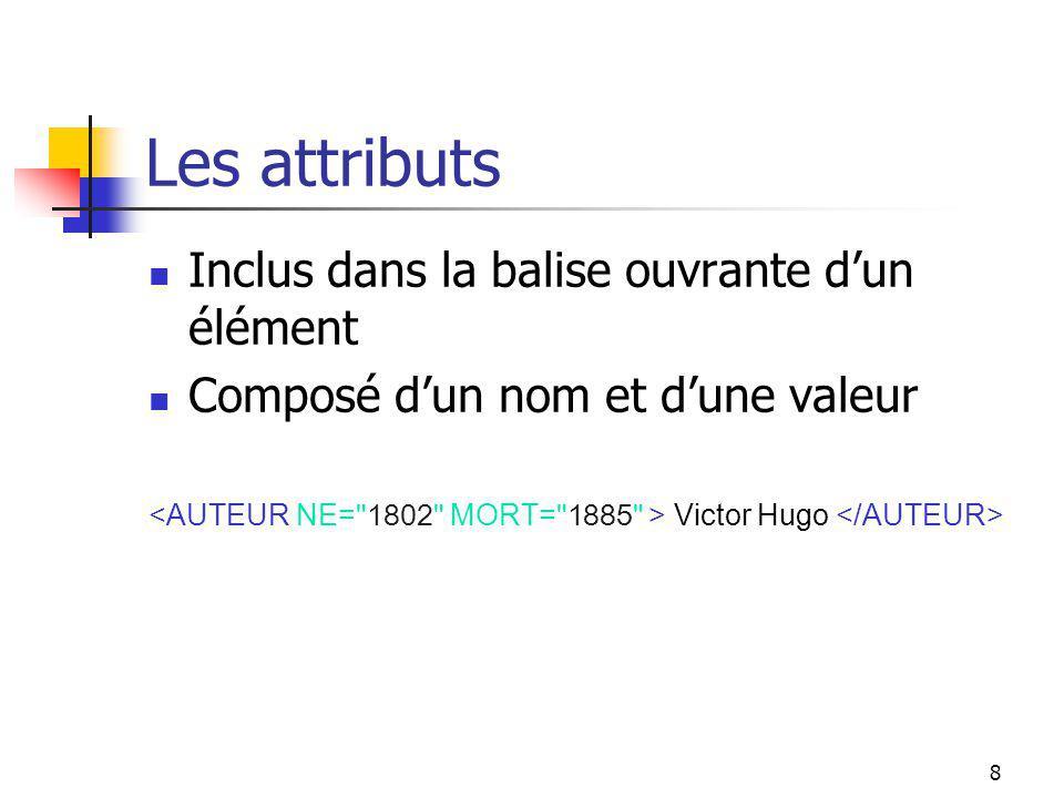 8 Les attributs Inclus dans la balise ouvrante dun élément Composé dun nom et dune valeur Victor Hugo